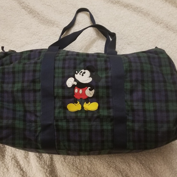 5dd3cdd142f4 Disney Handbags - Vintage Disney Mickey Mouse flannel duffle bag